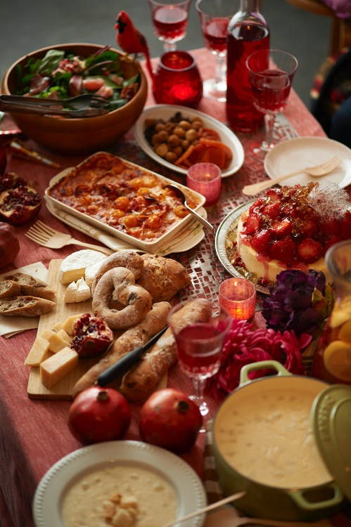 Christmas Feast on the table with red cloth