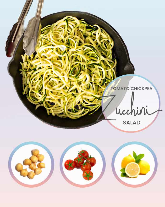 Tomato Chickpea Zoodle Salad